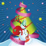 Postcard Snowman and gifts Stock Photography
