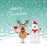Postcard Snowman and Reindeer Stock Photo