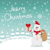 Postcard Snowman and snow Stock Photos