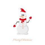 Postcard Snowman on white background Royalty Free Stock Photography