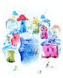 Postcard with snowy village and lake. Winter leisure card.Colorful houses.Watercolor hand drawn illustration Stock Photos