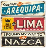 Postcard or souvenir templates with cities in Peru. Travel to Peru retro tin signs collection. Postcard or souvenir templates with cities in Peru South America Royalty Free Stock Images