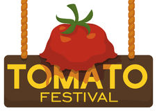Splattered Tomato over Wooden Sign for Tomato Throwing Festival, Vector Illustration. Postcard with a splattered tomato over a wooden sign hanged by ropes Stock Image