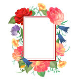 Postcard with a square frame of roses. Vector illustration royalty free illustration