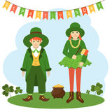 Postcard St. Patrick`s Day. Kids in festive costumes. St.Patrick `s Day. Card. Vector illustration Royalty Free Stock Photo