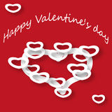 Postcard St. Valentine Day. Postcard on the day of St. Valentine with white hearts on a red background Stock Photography