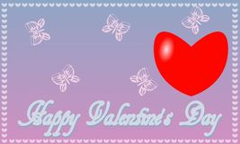 Postcard St. Valentine`s Day blue-pink background royalty free stock images