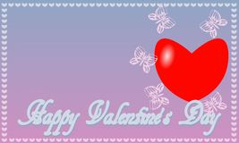 Postcard St. Valentine`s Day blue-pink background royalty free stock photos