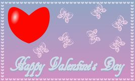 Postcard St. Valentine`s Day blue-pink background royalty free stock image