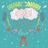 Postcard in the style of children. love. kissing clouds and flor Stock Photography
