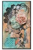 Postcard in style scrapbooking with roses and leaves flowers. Co. Ncept of handwork royalty free illustration
