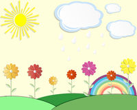Postcard summer meadow sun. Cloud cloud flower paper style illustration rain rainbow invitation background cartoon daisy place for text Royalty Free Stock Images