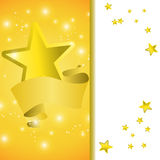 Postcard with a tape star and sequins. For congratulations or registration of your design Stock Photos