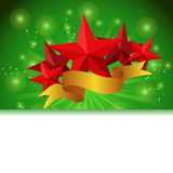 Postcard with a tape star and sequins. For congratulations or registration of your design Royalty Free Stock Image