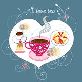 Postcard with tea and cakes Stock Image