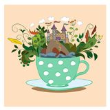 Postcard tea cup with flowers and a lock Stock Photos