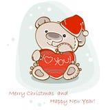 Postcard teddy  bear. Christmas postcard teddy bear with heart. Vector Stock Photo
