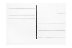 Postcard Template. Customizable blank postcard isolated on a white background Stock Photography