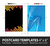 Postcard Template Designs. Grunge stripes postcard or direct mailer design template set with copy space. Customize this  to suit the needs of your business Stock Photo