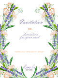 Postcard template with the floral design; watercolor floral elements of the lavender, wildflowers and eustoma flowers Stock Image