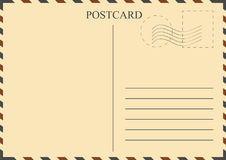 Postcard template. Vintage postcard with stamps royalty free illustration