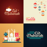 Postcard templates set with islamic culture icons Stock Photography