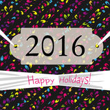 Postcard with text Happy Holidays 2016 year with colorful patter Royalty Free Stock Photo