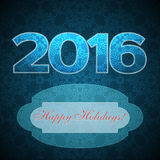 Postcard with text Happy Holidays 2016 year with pattern backgro. Und in blue color, illustration Stock Images