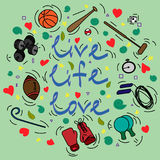 Postcard with text Live Life Love and attributes for sport. On a turquoise background Royalty Free Stock Image