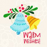Postcard with text Warm wishes Stock Image