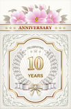 Postcard with the 10th anniversary. With a wreath of wheat and pink flowers stock illustration