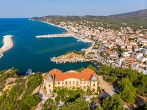 Postcard from Thassos. Aerial view of Limenaria Castle, now abandoned and Limenaria town and port. Thasos or Thassos Island is a summer destination island in royalty free stock photography