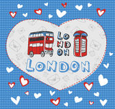 Postcard on the theme of London. Template Postcard double decker bus and phone booth on the theme London stock illustration