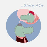 Postcard Thinking of You with Crocodiles Stock Photography