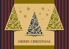 Postcard three Christmas trees Royalty Free Stock Images