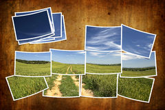 Postcard tile with summer landscape. Over grunge background Royalty Free Stock Photography