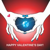 Postcard to the day of the holy valentine. Vector format Stock Photos