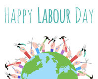 Postcard to the Day of Labour. Planet Earth and working with tools. Happy Labour day Stock Photos