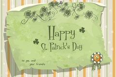 Postcard to the day of St. Patrick with clover leaves and bow Royalty Free Stock Photo