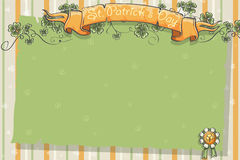 Postcard to the day of St. Patrick with clover leaves and ribbon Royalty Free Stock Image