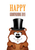 Postcard to Groundhog Day.Marmot on a white background Royalty Free Stock Images