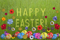 Postcard to Holy Easter. Postcard with flowers and  Easter eggs. Congratulations to Holy Easter. Greeting card Stock Photography