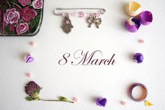 Collage to the international women`s day, March 8 stock photography