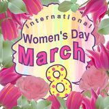 Postcard to the International Women`s Day on March 8 with flowers. vector design for banners vector illustration