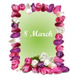 Poster International Happy Women s Day 8 March Floral Greeting. Postcard to March 8. llustration can be used in the newsletter, brochures, postcards, tickets vector illustration