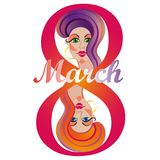 Poster International Happy Women s Day 8 March Floral Greeting. Postcard to March 8. llustration can be used in the newsletter, brochures, postcards, tickets royalty free illustration