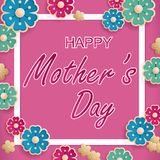Postcard to 8 March, mother`s day, with flowers. International Happy Women`s Day. Postcard to 8 March, mother`s day, with flowers. Pink Greeting card Stock Illustration