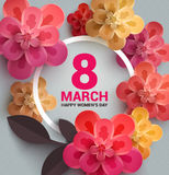 Postcard to March 8, with paper flowers. Stock Photography