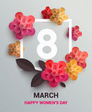 Postcard to March 8, with paper flowers. Stock Image