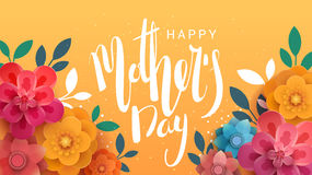 A postcard to the mother's day, with paper flowers and letterin. Royalty Free Stock Image